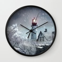 New England Winter Lighthouse Wall Clock