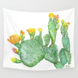 Prickly Pear Cactus Watercolor Wall Tapestry