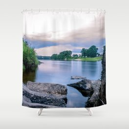 Long Exposure Photo of The River Tay in Perth Scotland Shower Curtain
