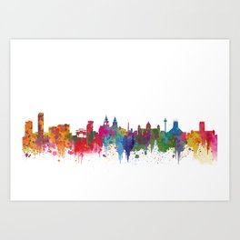 Liverpool seafront city line skyline waterfront watercolour colours colour splash by Evangelos Art Print
