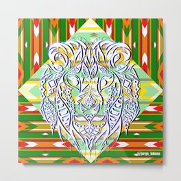 Green King Lion ecopop Metal Print