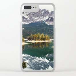 Green Blue Lake, Trees and Mountains Clear iPhone Case