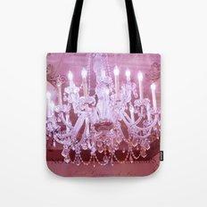 Paris Pink Crystal Chandelier Tote Bag