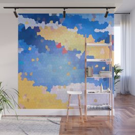 Abstract blue cyan Stained glass mosaic tie Wall Mural