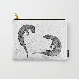 Swimming Otters Linoprint Carry-All Pouch