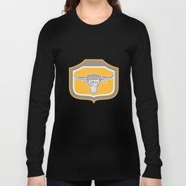 Bull Head Snorting Shield Retro Long Sleeve T-shirt