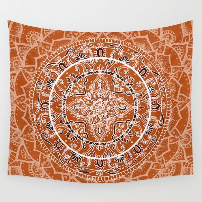 Detailed Burnt Orange Mandala Wall Tapestry