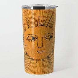 Sun Drawing Gold and Pink Travel Mug