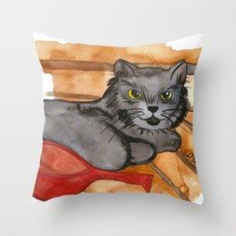 Cat in the Sauna Throw Pillow