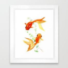 Goldfish, Feng Shui Asian Watercolor Framed Art Print
