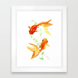 Goldfish, Feng Shui Asian Watercolor Framed Art Print