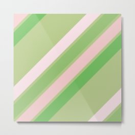 Pink, White and Shades of Green Stripes Metal Print