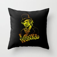 willy wonka Throw Pillows featuring W gold by Buby87