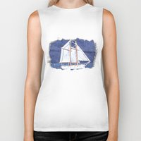 sailboat Biker Tanks featuring Sailboat by Michael P. Moriarty