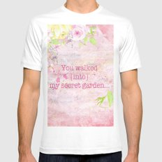 You walked into my secret garden - Pink flower typography Mens Fitted Tee MEDIUM White