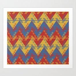 Tribal Zigzag Line Pattern Art Print