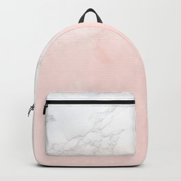 Blush Pink on White and Gray Marble II Backpack