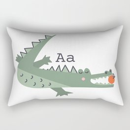 a is for alligator eating an apple Rectangular Pillow