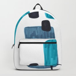 Mid Century Modern Abstract Minimalist Art Colorful Shapes Vintage Retro Style Turquoise Blue Grey Backpack