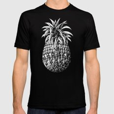 Ornate Pineapple LARGE Black Mens Fitted Tee