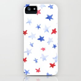 Red and Blue stars 4th of July watercolor design iPhone Case