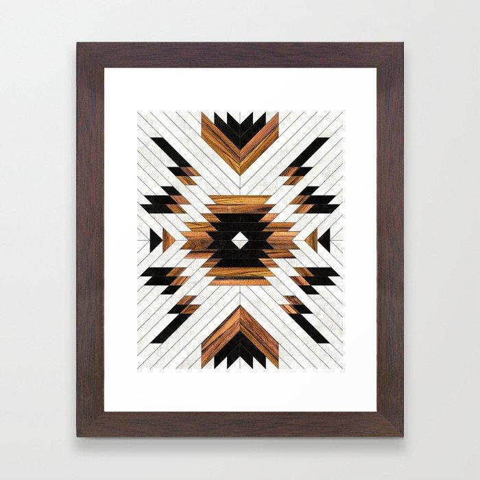 Urban Tribal Pattern 5 - Aztec - Concrete and Wood Framed Art Print