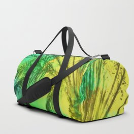 isolate palm tree with painting abstract background in green yellow Duffle Bag