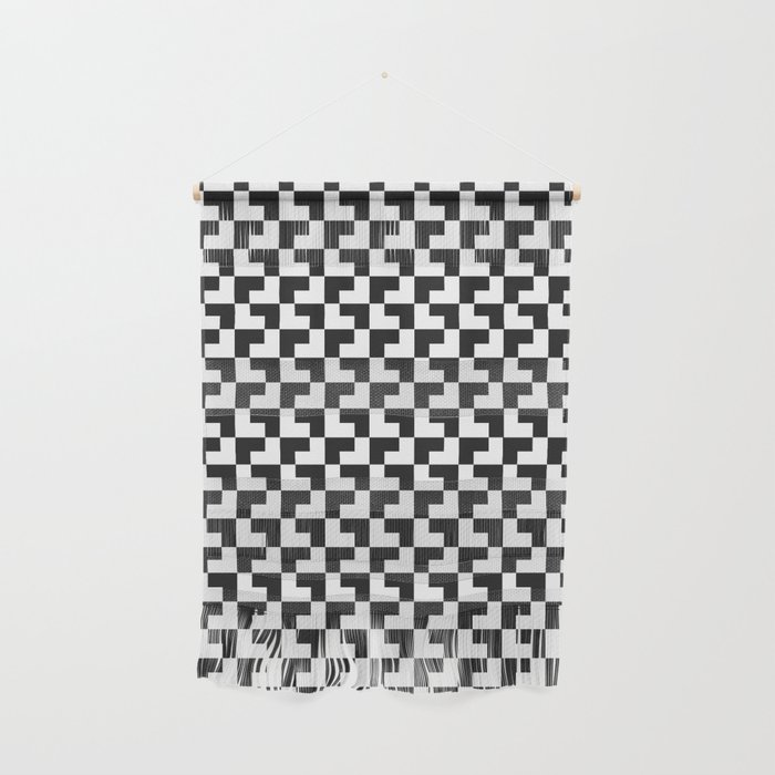 Black and White Tessellation Pattern - Graphic Design Wall Hanging