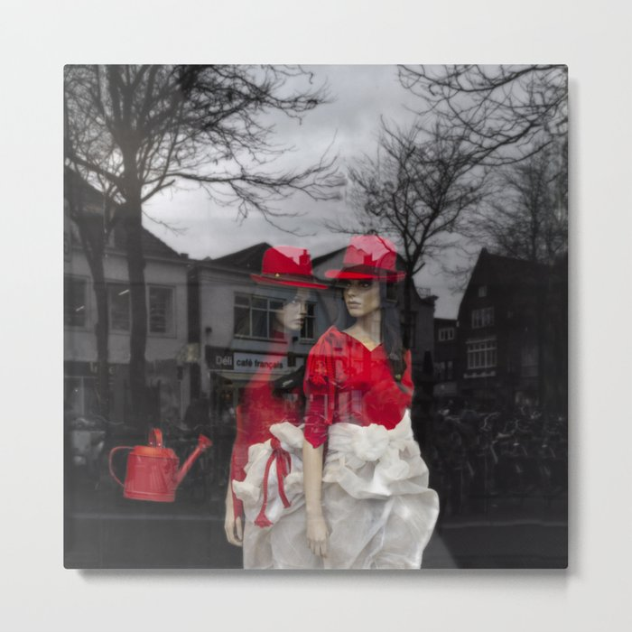 City girls with red hats Metal Print