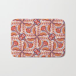Bohemian Folkart Floral - Red, Blue and Orange Flower Pattern with Folklore Feel Bath Mat