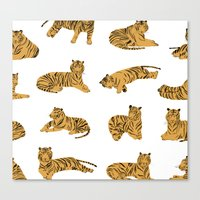 tigers Canvas Prints featuring Tigers by leah reena goren