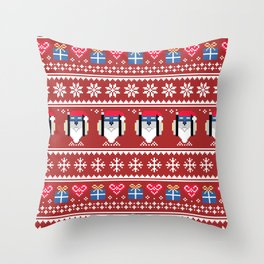 Blue Lion Holiday Throw Pillow