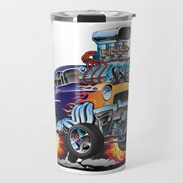 Classic Fifties Hot Rod Muscle Car Cartoon Travel Mug