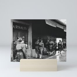Police officers in training | The beautiful city of Florence | Square Santo Spirito, Florence | Analog photography black and white art print Mini Art Print