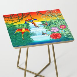 Waterfall Macaws and Butterflies on Exotic Landscape in the Jungle Naif Style Side Table