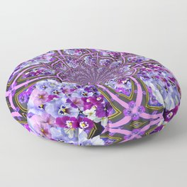 ORNATE PURPLE PANSY GALAXY ART Floor Pillow