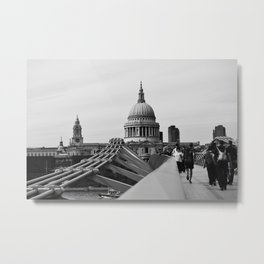 Millenium Bridge and St Paul's Cathedral. Metal Print