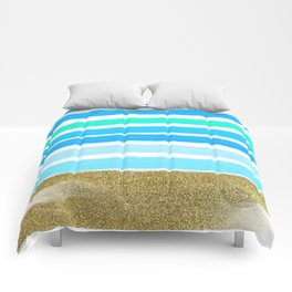 Blue Stripes and Glitter Comforters