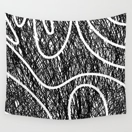 Scribble Ripples - Abstract Black and White Ink Scribble Pattern Wall Tapestry