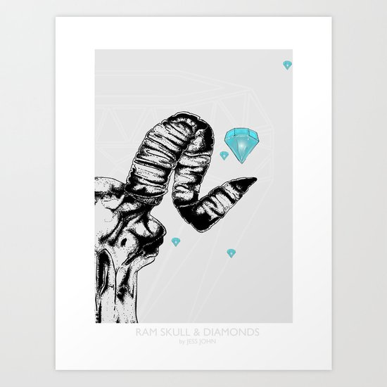 ram skull and diamonds Art Print