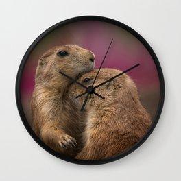 Loving Prairie Dogs Wall Clock