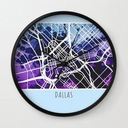 Dallas City Map / Blue Wall Clock