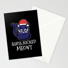 Santa Kicked Meowt Christmas Cat Stationery Cards