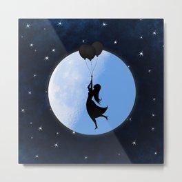 Starry Night Balloons Girl Metal Print