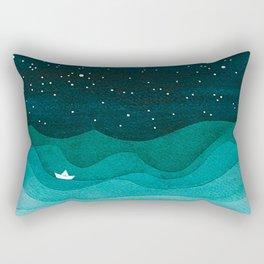 Starry Ocean, teal sailboat watercolor sea waves night Rectangular Pillow