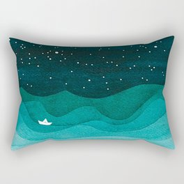Starry Ocean, teal sailboat watercolor sea waves night Rectangular Pillow
