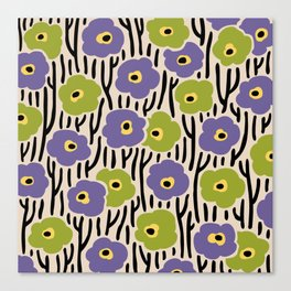 Mid Century Modern Wild Flowers Pattern Purple and Green Canvas Print