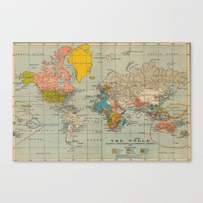Vintage world map Leinwanddruck