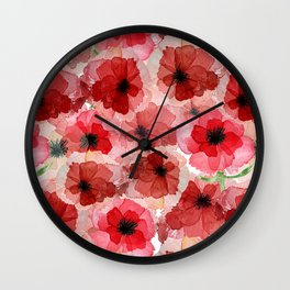 Pressed Poppy Blossom Pattern Wall Clock