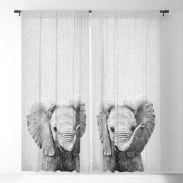 Baby Elephant - Black & White Blackout Curtain